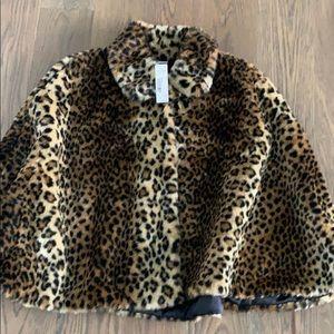 Faux fur leopard cape